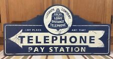 Telephone Pay Station Wall Decor Gas Oil Garage Pump Large Vintage Style Train