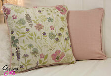 "Shabby Chic Cushion Cover Meadow Linen Tapestry Floral Country 15"" Piped pink"