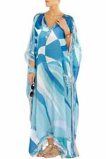 EMILIO PUCCI Blue Silk Kaftan Coverup Maxi Dress Gown ONE SIZE 8-18