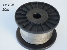 50m Marine Grade 316 Stainless Steel Wire 3.2mm Balustrade Decking Rope 1 x 19