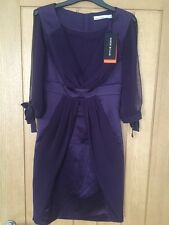 Karen Millen Womens Dark Purple Chiffon Sleeve Dress Size 6