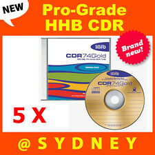 5 x NEW HHB CDR-74 Gold Pro-Grade 650MB/74 Min Recordable Blank CD Compact Disc
