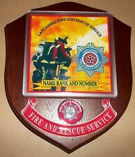 Lancashire Fire and Rescue Service wall plaque personalised free of charge..