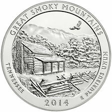 2014 5 oz America The Beautiful ATB Great Smoky Mountains Silver Coin .999 Fine