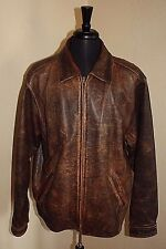 Eddie Bauer Brown Distressed LTall Distressed Men Bomber Leather Jacket Coat Vtg