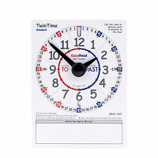 EasyRead TwinTime double-sided write-on wipe-off PVC clock card Student Edition