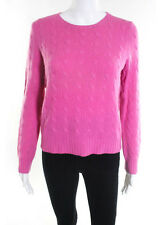 RALPH LAUREN Pink Cashmere Cabel Knit Scoop Neck Long Sleeve Sweater Sz L
