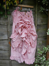 RITANOTIARA OSFA MAXI LONG BUSTLE SKIRT COTTON VOILE PINK EDWARDIAN VICTORIAN