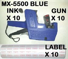 MX-5500 8 BLUE Digits Price Tag Gun+5000 White with Red lines  labels+1 Ink X 10