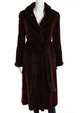 DENNIS BASSO Dark Red Genuine Mink Fur Long Sleeve Tie Long Coat Sz S