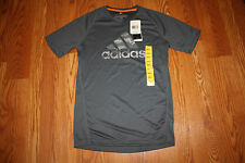 NWT Mens ADIDAS ClimaLite Performance Logo Short Sleeve Tee Shirt Gray L Large