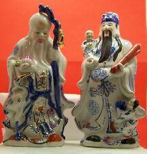 "White and Blue ceramic porcelain Japanese figurines 11"" tall"