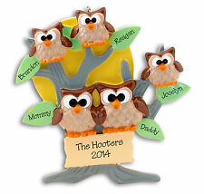 OWL FAMILY OF 5 Personalized CHRISTMAS Ornament - Hand painted RESIN Deb & Co.