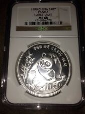 1990 China Panda Large Date, 1 oz. Silver, NGC MS 68