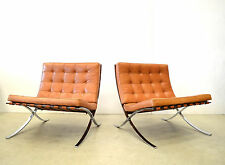 2x Mies v. d. Rohe BARCELONA Chair // Knoll International LOUNGE Sessel Cognac