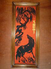 Ancien cadre en bois avec canevas à déco chinoise dragon