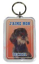 """Porte clé chien """"J'aime mon Teckel à poil dur""""  idée cadeau pas cher NEUF"""