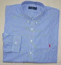 New XXL 2XL POLO RALPH LAUREN Mens button down dress shirt blue stripes red pony
