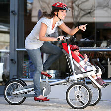 Blue Mom & Baby Parents Child Two-Way Bicycle Baby Seat Folding Bike Stroller