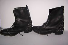 Gianni Bini Leather Studded Jeweled Lace Up Boot Bootie BLACK Women 9M