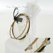 THREE Wire BANGLE BRACELETS Faux Crystals GOLD, BLACK & ROSE GOLD Tone GIFT BAG