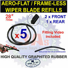 "AERO FLAT FRAME LESS BOSCH TYPE WIPER BLADE REFILLS 28"" CUT TO SIZE (5 PCS)"