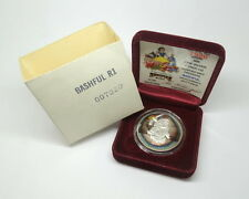 DISNEY Snow White BASHFUL 50th Anniversary .999 Fine Proof 1oz Silver Medal Coin