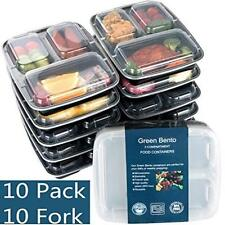 Food Storage Containers Organizer 10 Pack-3 Compartment Container W/ Lids For