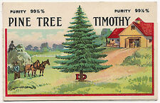 Saginaw, Michigan, Henry W Carr Co. Timothy Grass Seed 1906 Adv Novelty Postcard
