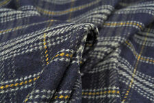 A5 LAMBS WOOL& CASHMERE BLEND RUSTIC PLAID CHECK NAVY -GREY -GOLD MDE IN ITALY