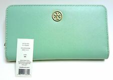$185 Tory Burch Robinson Hidden Zip Continental Wallet Oversize Mint Green