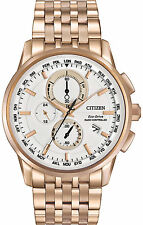 New Citizen Eco-Drive World Time Rose Gold-Tone Steel Mens Watch AT8113-55A