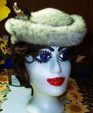 Visón auténtico-kohinoor sombrero. blanco y negro patrón de naturaleza. forro interior negro.gr.60cm.