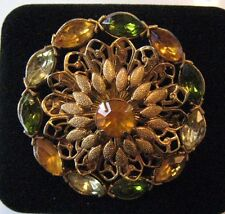 Vintage Brooch Pin Orange Green Yellow Rhinestone Gold tone Jewelry lot i