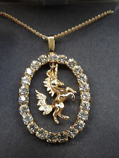 FAB Vintage UNICORN Horse Pendant IMPORTED CRYSTAL Necklace By Jo Anne Jewels!