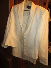 EVAN PICONE EGGSHELL DAMASK FABRIC CLASSIC SZ 16W SKIRT SUIT CAREER FORMAL NICE!