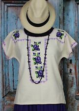 Michoacan Blouse, Hand Embroidered & Woven Mexico, Frida Kahlo Hippie Cowgirl