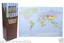 """LARGE WORLD MAP Poster Wall Chart New Sealed School Nursery Office 24"""" x 36"""""""