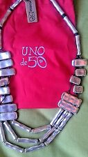 Uno De 50 Silver plated bricks and rods Necklace UNOde50