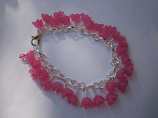 Pink Lucite Flower Charm Beaded Bracelet - Silver Plated - Hot Pink