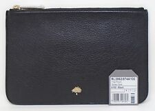 $380 Mulberry Tree Pouch Glossy Goat Zip Closure Black Leather RL3862/874A100