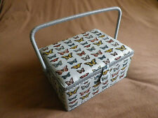BLUE BUTTERFLY DESIGN FABRIC LUXURY SEWING BASKET / WORK BOX.NEW