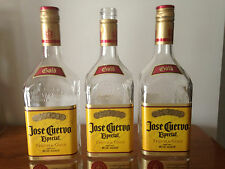 Lot of 3 Empty 1 Liter Glass Jose Cuervo Gold Tequila Bottles / 2 with Caps