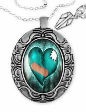 Love Hurts Broken Zombie Heart Silver Ornate Valentine Horror Pendant Necklace