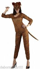Womens Cat Costume Womens Leopard  Fancy Dress Leopard Jumpsuit & Mask UK 12/16