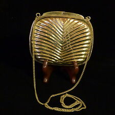 """VINTAGE SMALL GOLD TONE BRASS CLAM SHELL EVENING SHOULDER BAG RIDGED 5"""" X 4"""""""