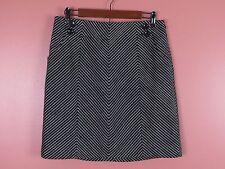 SK05282- ANN TAYLOR Woman 100% Cotton Paneled Skirt Button Decor Black White 8P