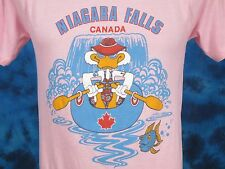vintage 80s NIAGARA FALLS CANADA CARTOON DUCK RAFTING T-Shirt XS surf beach thin