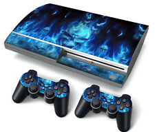 PS3 Original PlayStation 3 Skin Stickers PVC for Console & 2 Pads Blue Fire