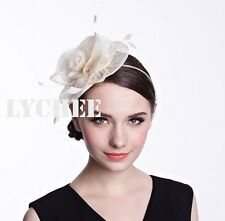 Beige Cream Rose Flower Feather Fascinator  Headband